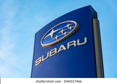 Belarus, Minsk-September 09, 2017: Stand with logo and name of Subaru Corporation automotive company. The company was founded in 1954.