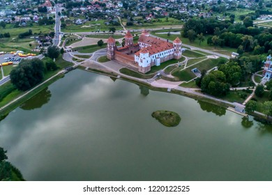 Belarus, Mir Castle. Old fortress Aerial view