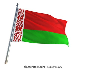 Belarus National Flag waving in the wind, isolated white background. High Definition