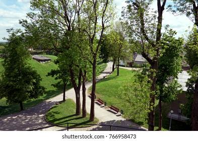 Belarus. Novogrudok. Park near the Castle Hill in Novogrudok on May 25, 2017.