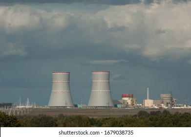 Belarus, Ostrovets - 09/14/2019. The construction of the Belarusian nuclear power plant in Ostrovets district.