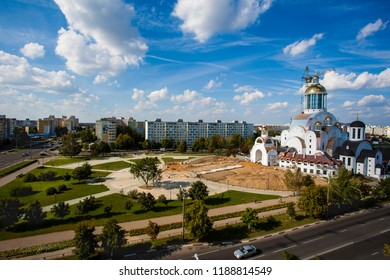 Belarus, Soligorsk, August 20, 2016: construction of the church building against the backdrop of the city and sky