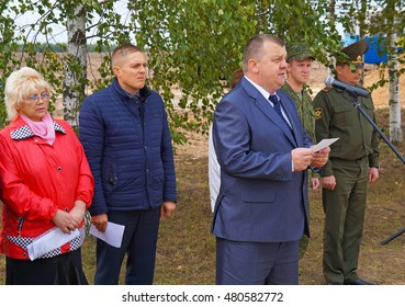 Belarus, village Velichkovo, September 11: Solemn ceremony of reburial of the remains of the Fatherland defenders and the victims of fascism, September 11, 2015 in village Velichkovo, Belarus.