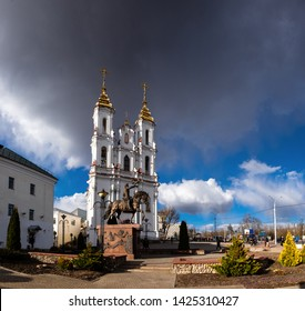 Belarus, Vitebsk. View of the with Resurrection church, and beautiful equestrian statue in Vitebsk, with dramatic sky
