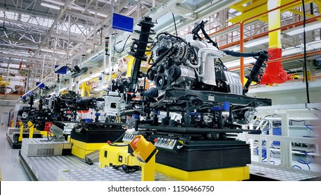 Belarus, Zhodino 30 Nov 2017. Geely plant in Belarus to supply the Russian market. Engine and chasis manufactured and assembled on the modern factory production line.  Automotive plant producing cars