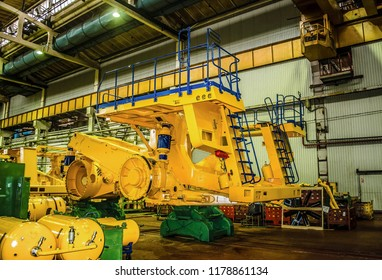 BELARUS, Zhodino - JULY 30,2017:Plant for the production of heavy dump trucks Belaz. Belaz is a Belarusian manufacturer of haulage and earthmoving equipment, dump trucks, haul trucks, heavy equipment