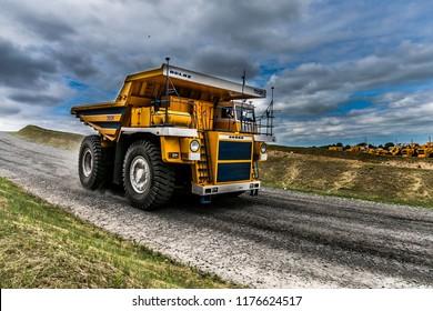 Belarus, Zhodzina, 10 September 2018: Belaz during test drive. Belaz is a Belarusian manufacturer of haulage and earthmoving equipment, dump trucks, haul trucks, heavy equipment. hdr