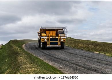 Belarus, Zhodzina, 10 September 2018: Belaz during test drive. Belaz is a Belarusian manufacturer of haulage and earthmoving equipment, dump trucks, haul trucks, heavy equipment.