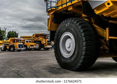 Belarus, Zhodzina, 10 September 2018: Belaz parked on factory. Belaz is a Belarusian manufacturer of haulage and earthmoving equipment, dump trucks, haul trucks, heavy equipment.