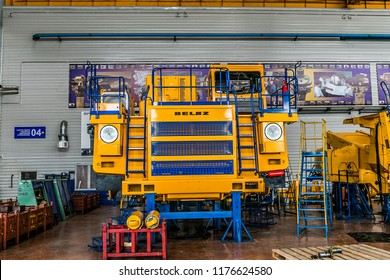 Belarus, Zhodzina, 10 September 2018: Belaz production on factory. Belaz is a Belarusian manufacturer of haulage and earthmoving equipment, dump trucks, haul trucks, heavy equipment.