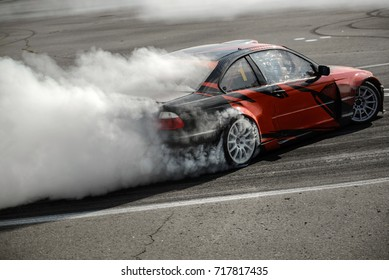 BELARUS-AUGUST 27, 2017: Drift Championship of Belarus in Pinsk. The pilots from Russia, Ukraine and Lithuania took part in the event.