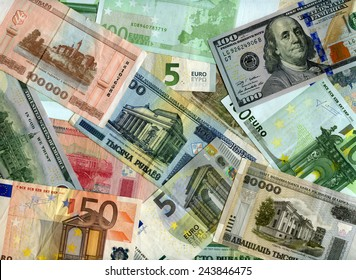 Belarusian banknotes (Rubles), US dollars and European currency (Euro) background