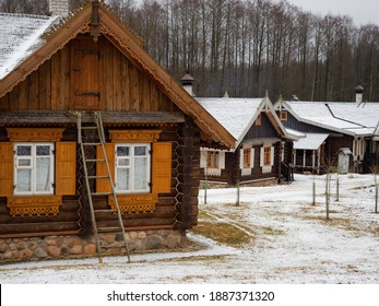 Belarusian hinterland old ethnic village elements of wooden huts 2020