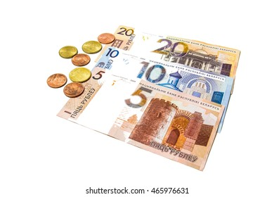 Belarusian national new money isolated background