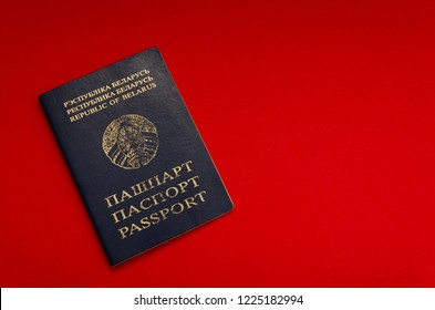 Belarusian passport on the red background