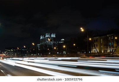 Belarusian railway station in Moscow at night with traffic