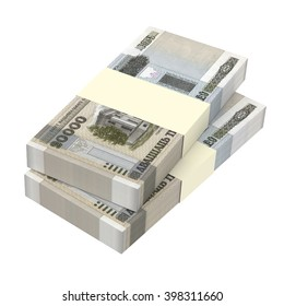 Belarusian rubles bills isolated on white background. 3D illustration.
