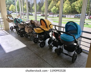Belarus,Minsk,September 2018: baby strollers are standing near the polyclinic building