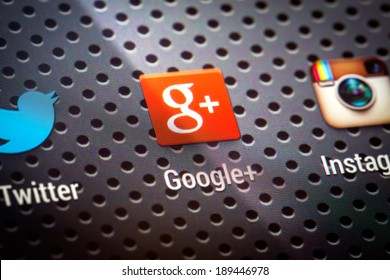 BELCHATOW, POLAND - APRIL 10, 2014: Closeup photo of Google Plus icon on mobile phone screen. Popular social network.