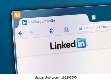 BELCHATOW, POLAND - APRIL 11, 2014: Photo of Linkedin social network homepage on a monitor screen.