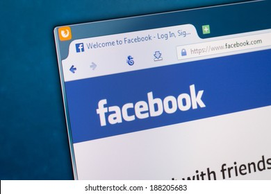 BELCHATOW, POLAND - APRIL 11, 2014: Photo of Facebook social network homepage on a monitor screen.