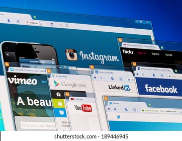 BELCHATOW, POLAND - APRIL 11, 2014: Photo of social network homepage on a monitor screen.
