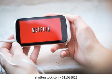 BELCHATOW, POLAND - January 06, 2015: Netflix service logo on phone.