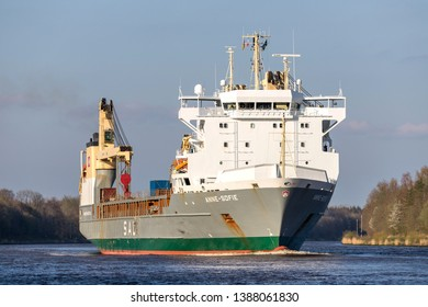BELDORF, GERMANY - APRIL 8, 2019: SAL heavy lift ship ANNE-SOFIE in the Kiel Canal. SAL Heavy Lift is one of the world's leading carriers specialised in sea transport of heavy lift and project cargo.