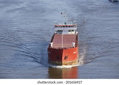BELDORF, GERMANY - JUNE, 15. General cargo ship Mosvik at the Kiel Canal (Schleswig-Holstein, Germany) taken on June 15, 2014.