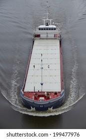 BELDORF, GERMANY - JUNE, 8. The freighter Marinda at the Kiel Canal near Beldorf (Schleswig-Holstein, Germany) on June 8, 2014.