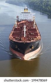 BELDORF, GERMANY - JUNE, 8. The tanker Zagaro at the Kiel Canal near Beldorf (Schleswig-Holstein, Germany) on June 8, 2014.