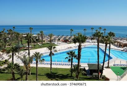 Belek, ANTALIA, TURKEY - JUNE 01, 2015: View of the pool and the beach from the hotel Adora Golf Resort, Belek, Turkey.