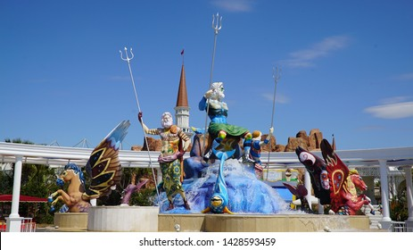 Belek, Antalya, Turkey - April 2, 2019: The Land of Legends theme park in Belek