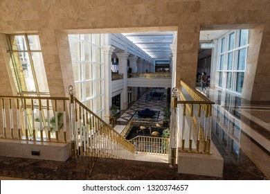 Belek, Antalya, Turkey - February 11, 2019. Interior view of the lobby at Rixos Premium Belek five-star hotel in Belek, Turkey.