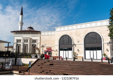 Belek, Antalya, Turkey - February 11, 2019. Exterior view of a mosque at the Land of Legends theme park in Belek, Turkey.