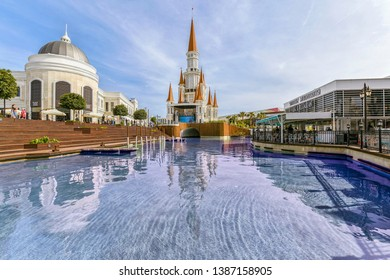 Belek, Antalya, Turkey, May 1, 2019: : Main pool with statues in Land of Legends theme mall. Night. A very big hotel, shopping mall and fun park located in Belek, Antalya, Turkey
