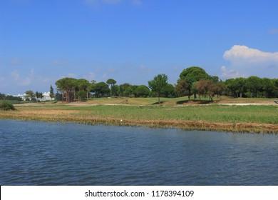 Belek, Antalya / Turkey-June 13, 2018: Golf Courses. Luxury class hotel Titanic in Belek, Mediterranean coast of Turkey.