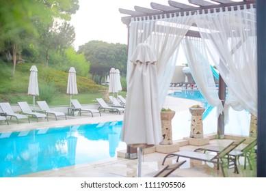Belek, Antalya/Turkey - june 2018: relax pool and sunbeds