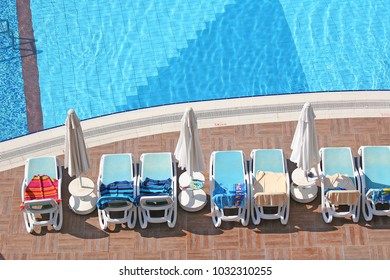 Belek, Turkey, 07 12 2017, towels reserving sun lounger at a hotel pool