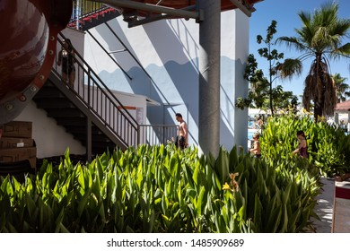 Belek,  Turkey - Aug. 08, 2019: Recreation area at the beach resort