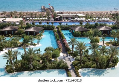 Belek, Turkey - June 01, 2015: View of the beach line and territory with pools of the luxury hotel Maxx Royal Belek Golf Resort.