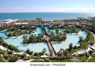 Belek, Turkey - June 01, 2015: Panoramic view of the territory, beach line and pools of the luxury hotel Maxx Royal Belek Golf Resort.