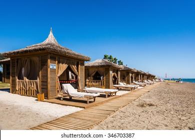 BELEK, TURKEY - Sept 30, 2014: The beach at luxury Alva Donna hotel