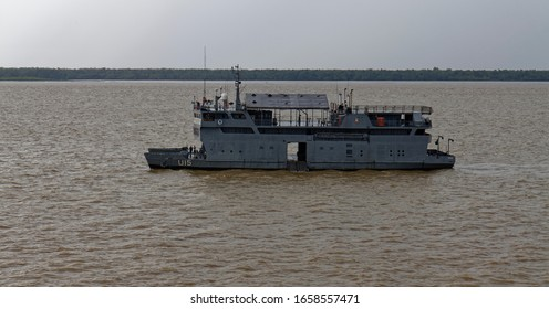 Belem, Brazil - 9th October 2014:  Side on view of the Na Para, a Brazilian Naval Hospital ship and Troop Carrier moored up in the Amazon River near to Belem.
