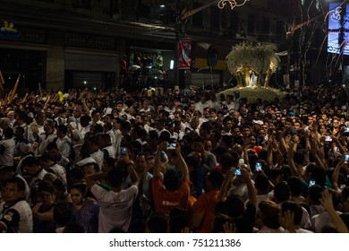 Belem do Para, Brazil - October 07, 2017: 'Trasladacao' is a night procession that takes place in the night before the 'Cirio de Nazare' (Nazareth Candle), the largest religious event in Brazil