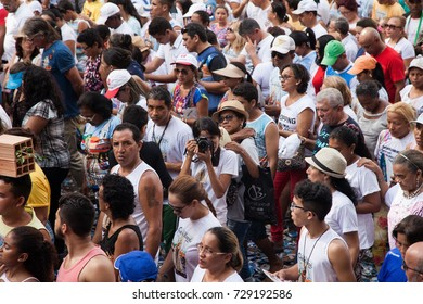 BELEM, PA - BRAZIL - OCTOBER 9: An unidentified photographer takes a picture in the middle of the crowd of Saint Nazareth's followers in Belem, in 2016