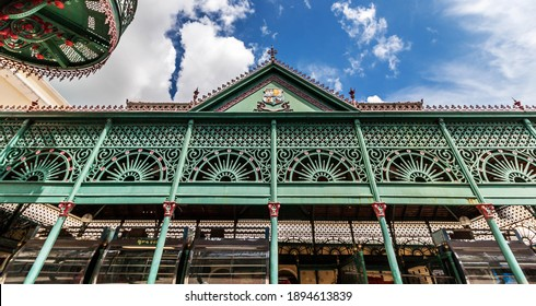Belem, Para, Brazil, January, 2015. Detail of the architecture of the famous Meat Market Francisco Bolonha, part of the Ver-o-peso Complex in the historic town of Belem.