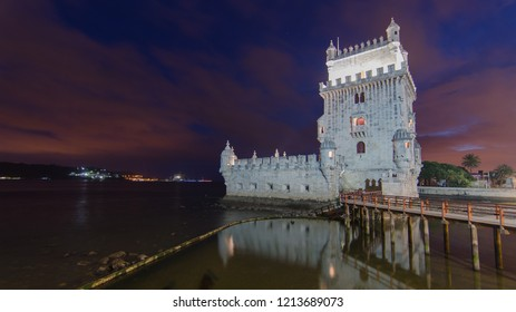 belem tower by night