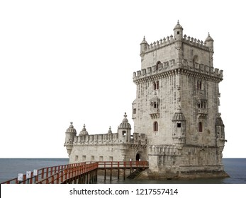 Belem tower (Lisboa/Lisbon, Portugal) isolated on white background