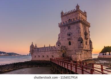 Belem tower in Lisbon during twilight ,Portugal